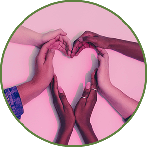 Tips for Forgiving Yourself  - Work on Self-Love  - Multiple hands together in the shape of 1 heart