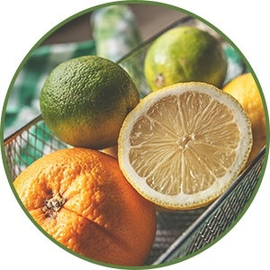 Orange, Lime, Lemon in Basket - Anti-aging benefits of citrus fruit